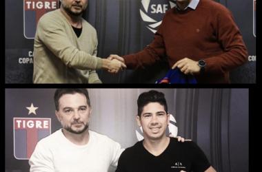 Alcoba y Morales, junto a Ezequiel Melaraña, firmando su extensión de contrato (Fotos: Prensa Tigre).