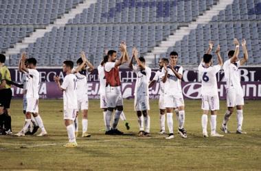 Jugadores blancos tras un partido en La Victoria. Foto: Real Jaén.