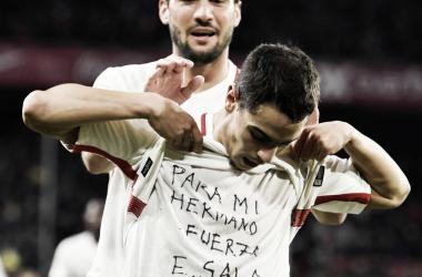 Ben Yedder y su dedicatoria a Emi Sala | Foto: Sevilla FC