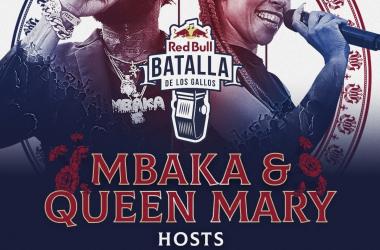 Cartel de presentación de los hosts del evento. (Imagen (sin efecto): Red Bull Batalla De Los Gallos).