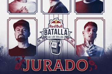 Cartel de los jurados de la Final Internacional. (Foto (sin efecto): Red Bull Batalla De Los Gallos).