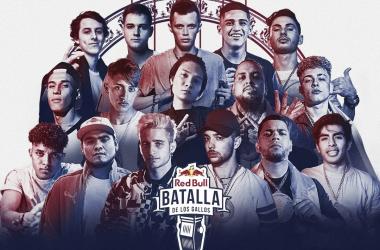 Cartel con los representantes de la Final Internacional. (Foto (Sin efecto): Red Bull Batallas De Los Gallos)