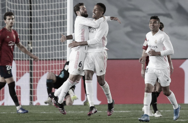 Militao celebra junto a Nacho su gol frente a Osasuna. |Foto: @realmadrid