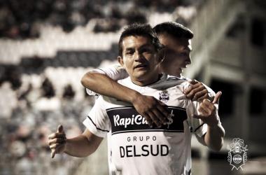 """22/08/2021 El """"Pulga"""" Rodríguez, autor del único gol del Lobo (FOTO: Prensa Gimnasia)"""