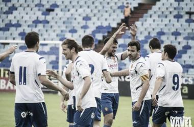 Celebración del segundo gol blanquillo (Foto: Andrea Royo | VAVEL).