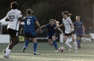 Sarah Killion (right) looking for a way to get past Reign forward Beverly Yanez | Source: Sky Blue FC