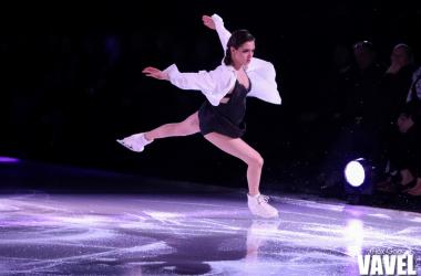 "Evgenia Medvedeva skating to Kristian Kostov's ""Beautiful Mess"" at the Stars on Ice show in Hamilton on May 4, 2019."