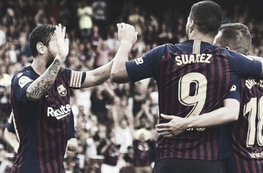 Messi y compañía festejando un gol I Foto: @LaLiga