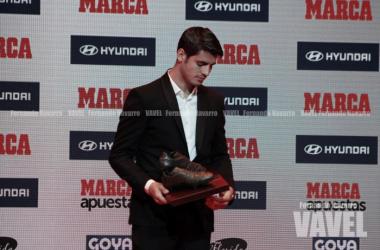 """Morata, tras recibir el Trofeo Luis Aragonés: """"Cada minuto en el Madrid es oro"""""""
