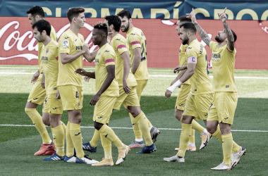 """<p class=""""MsoNormal"""">Los jugadores celebran el gol de Paco Alcacer / Foto: Villarreal C.F<o:p></o:p></p>"""
