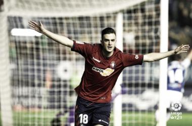 Juan Villar, el hombre gol de Osasuna. Fuente Laliga 123