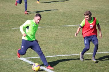 Quini y Pozo en un entrenamiento del Granada CF. Foto: Óscar Yeste