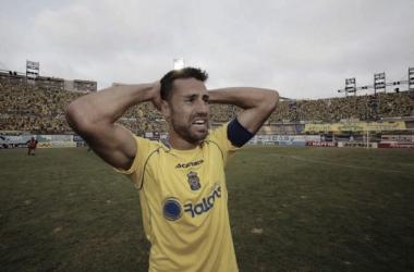 David García en la celebración del último ascenso / Foto: udlaspalmas.es