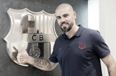 Valdés tras anunciar su incorporación al FCB Juvenil A. Foto: FC Barcelona