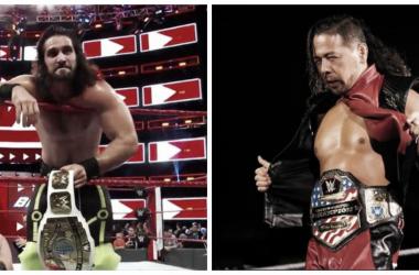 Los actuales campeones intercontiental (Seth Rollins) y estadounidense (Shinsuke Nakamura)