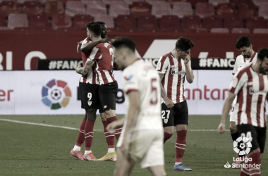 El Bilbao tras el tanto de Williams / laliga.com