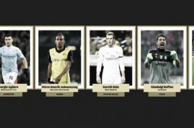 Agüero, Aubameyang, Bale, Buffon e Ronaldo: os primeiros cinco indicados (Foto: Divulgação/France Football)