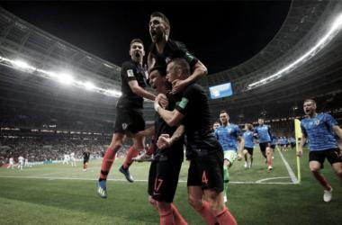 Manžukić festeja el 2-1 que mete a Croacia en la final. Foto: El Comercio.