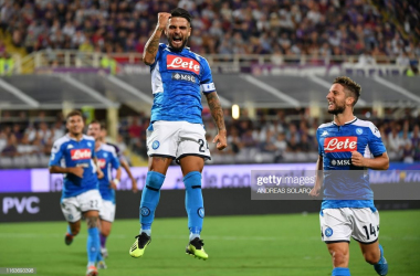 Insigne celebrates a brace in Napoli's victory over Fiorentina<div>Photo credit: Andreas Solaro/Getty Images</div>