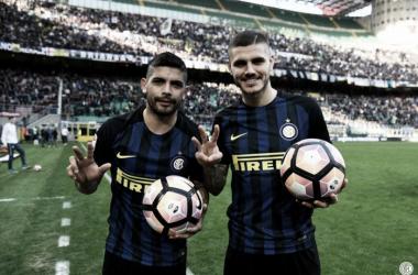 Banega e Icardi, se llevaron todos los flashes con sus hat-tricks. Foto Internazionale.