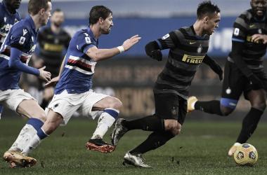 Imagen: Lautaro Martínez controlando un balón. | Foto: @Inter.