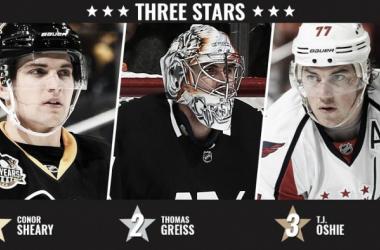 Sheary, Greiss y Oshie, los mejores de la semana en la NHL | NHL.com