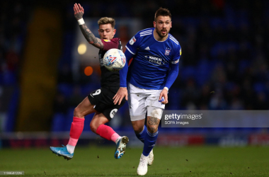 Luke Chambers of Ipswich Town and Sammie Szmodics of Peterborough United are seen in action during the Sky Bet League One match between Ipswich Town and Peterborough United at Portman Road. (Final score; Ipswich Town 1:4 Peterborough United). (Photo by Richard Calver/SOPA Images/LightRocket via Getty Images)