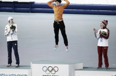 The Podium following the Ladies' 3000 meter Speed Skating Event (Image courtesy of Jeffrey Swinger and USA Today Sports)