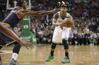 Isaiah Thomas suffered a strained right hip injury during Game 2 against the Cavaliers. Photo: AP Images