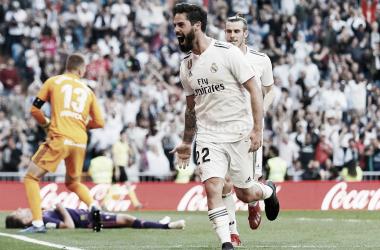 Isco celebrando el primer gol ante el Celta en el Santiago Bernabéu | Foto: www.realmadrid.com