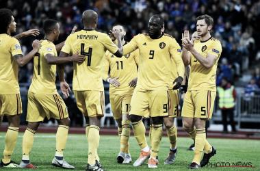 Los belgas celebran el primer gol de Lukaku. | Seleccion Belga.