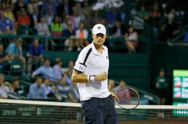 John Isner pumps his fist during his win on Wednesday. Photo: Aaron M. Sprechner/ROCC
