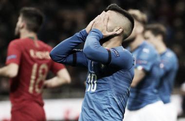 """<div><p class=""""MsoNormal""""><span>Lorenzo Insigne, al término del partido de la Liga de las Naciones   Foto: EFE</span></p></div>"""