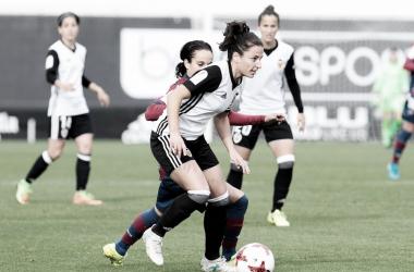 Ivana Andrés en un lance de juego ante el Levante Femenino. Fuente: Valencia CF.