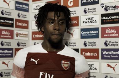 Iwobi atendiendo a los medios de comunicación | Fotografía: Arsenal
