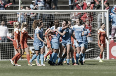 The Chicago Red Stars celebrate taking the lead against the Houston Dash. Source: Chicago Red Stars