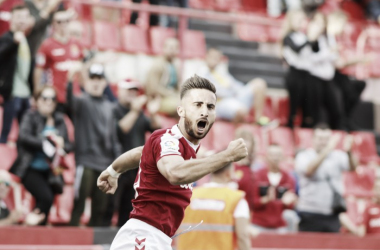 Omar Perdomo celebrando el primer gol frente al Albacete. Foto: Gimnàstic de Tarragona