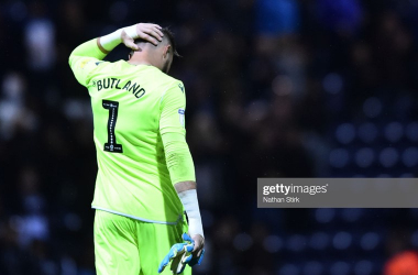Jack Butland looks dejected during the Sky Bet Championship match between Preston North End and Stoke City at Deepdale. Photo by Nathan Stirk/Getty Images.