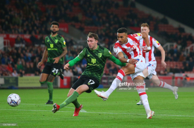 Jacob Brown hits a shot just wide of the post in the early stages against Bournemouth on Tuesday night. Stoke are currently top of the Championship for big chances missed with 25. (Photo by James Gil/Getty Images)