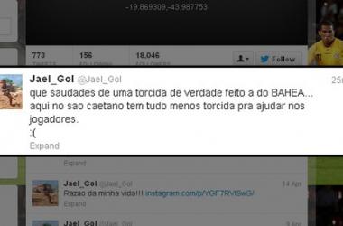 Mensagem de Jael em sua conta no Twitter na tarde desta quinta-feira (Foto: Reprodução)