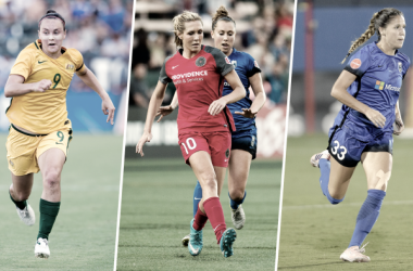 Caitlin Foord, left Allie Long, middle, and Katie Johnson right, l Source: Nwslsoccer.com