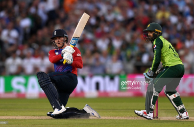 Jason Roy top scored for England in the run chase | Photo by Gareth Copley - Getty Images