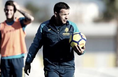 """Javi Calleja: """"Pensamos solo en el partido con el Espanyol""""."""