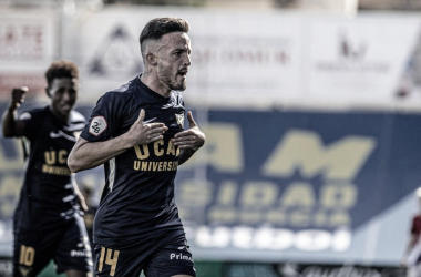 Javi Moreno tras un gol | Foto: UCAM Murcia CF