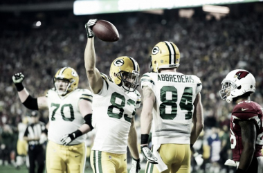 Jeff Janis celebrates after scoring one of his two touchdowns in a game against the Arizona Cardinal during the 2015 NFL Playoffs | Matt Kartozian - USA TODAY Sports