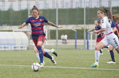 Jenni, protagonista del partido y 'pichichi' (FCBarcelona)