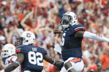 Jeremy Johnson had plenty of reasons to celebrate against Arkansas with 243 yards passing (Albert Cesare / Montgomery Advertiser)