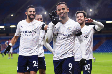 BURNLEY, ENGLAND - FEBRUARY 03: Gabriel Jesus of Manchester City celebrates after scoring his team's first goal during the Premier League match between Burnley and Manchester City at Turf Moor on February 03, 2021, in Burnley, United Kingdom. (Photo by Matt McNulty - Manchester City/Manchester City FC via Getty Images)