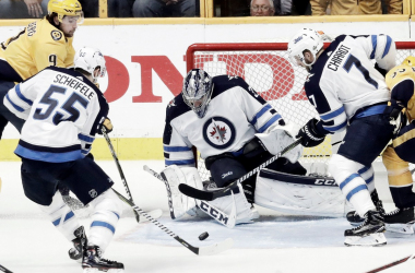 Nashville Predators just couldn't solve the Jets'  Connor Hellebuyck in Game 1 of second round. | AP Photo/Mark Humphrey)