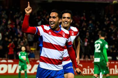 Montoro celebra su segundo gol ante el Elche. Foto: Jesus Hita/Photographers Sports